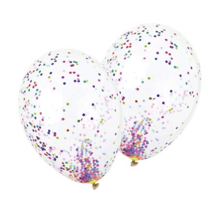 Ballons transparents x 5 -  à confettis multicolores - Diam. 29 cm