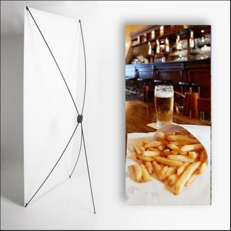 Kakemono Cornet de frites - 180 x 80 cm - Toile M1 avec structure  X- Banner