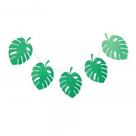 Guirlande tropicale de 10 feuilles de 24 x 17 cm - vert pailleté - long 3m