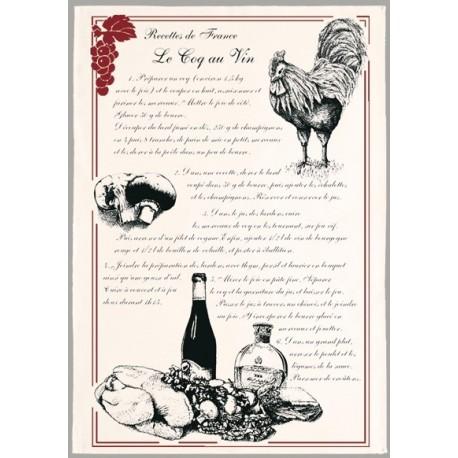 """Tissu Imprimé """" Le coq au vin """" - Coton - 48 x 72 cm"""