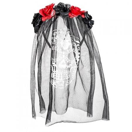 Tiare de fleurs avec voile - polyester - haut 50 cm