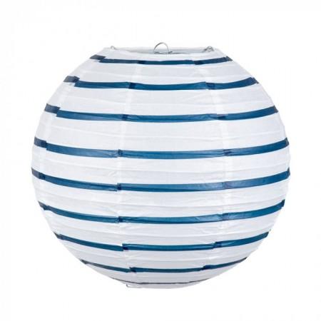 Lanterne rayée blanche  et  bleue -  papier armature de fil - Diam 25 cm