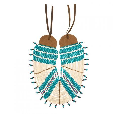 Collier d'indien bois et tissu