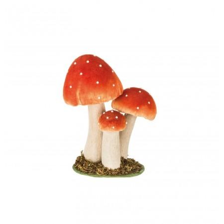 Champignon orange et blanc (lot de 3) - Bois  et  mousse / 19 x 12 x 24 cm