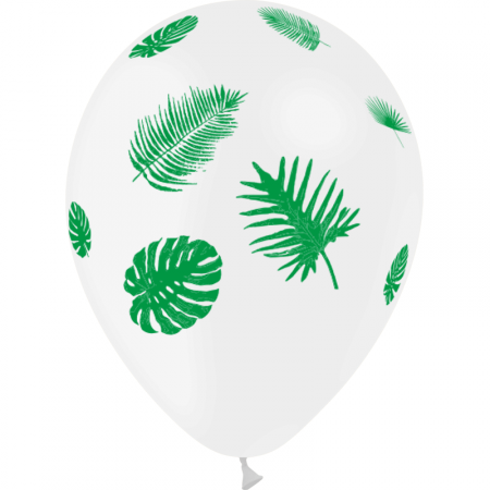 Ballons motif Feuilles tropicales /  pochette de 8 - Diam. 29cm