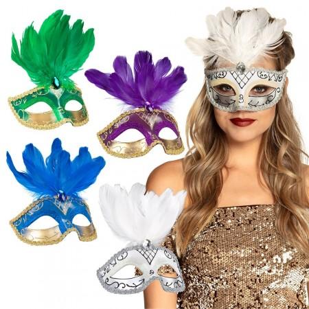 Masque Loup Venice (4 couleurs ass.) - plumes et polyester