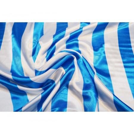 Tissu satin rayé bleu et blanc - polyester -  larg 150 cm