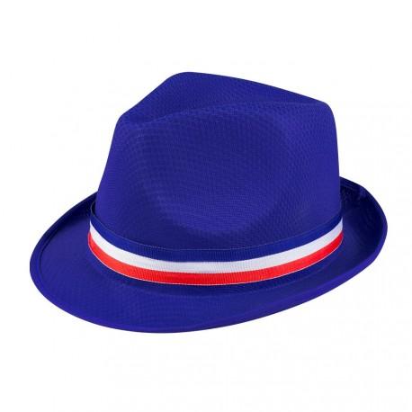Chapeau supporter bleu avec ruban tricolore - polyester - Taille adulte
