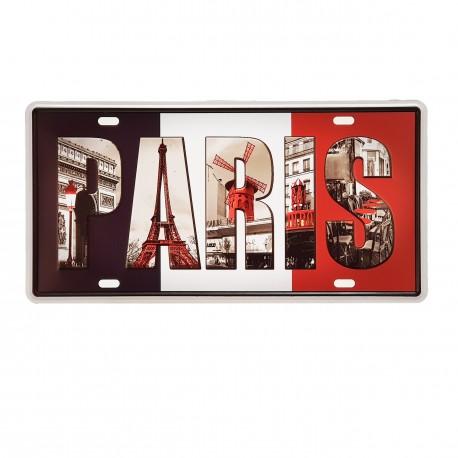 Plaque metal 3D Paris - 15 x 30cm