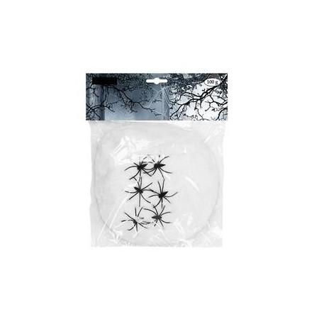 Toile d'araignée avec 6 araignées - 100 grs- ouate/PVC