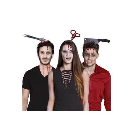 Serre-tête outil sanglant halloween - PVC - taille adulte - modèles assortis