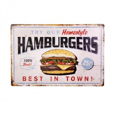 Plaque metal 3D Hamburgers - 20 x 30cm