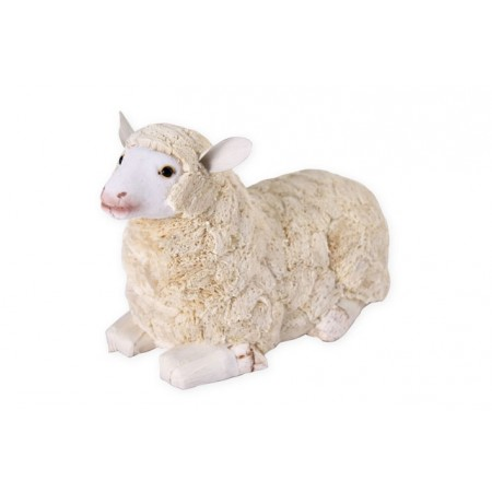 Mouton blanc couche - 35 x 16,5 x 21 - fibres naturelles