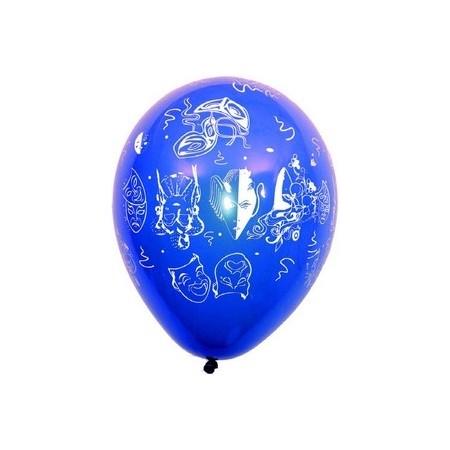 """Ballons multicolores motif """" Carnaval""""  pochette de 8 - Diam. 29cm"""