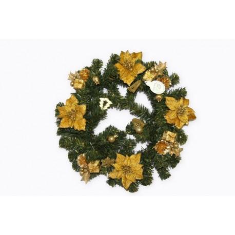 Couronne de Noel décorée Or Diamètre 40 cm
